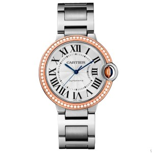 Cartier WE902081 Ballon Bleu Stainless Steel & Rose Gold Diamond 36mm Womens Watch