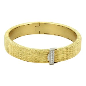 Roberto Coin 18K Yellow and White Gold with 0.10ct Diamond Wide Textured Bangle Bracelet
