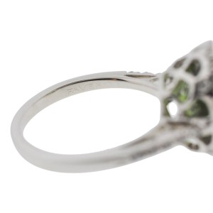 Favero 18K White Gold Oval Green Tourmaline Diamond Halo Setting Ring