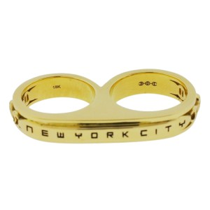 Jay Z Beyonce Barney's Hoorsenbuhs 18K Yellow Gold New York City Double Ring