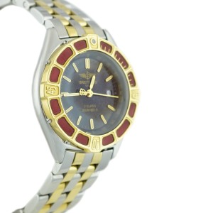 Breitling D52065 J Class Black Dial 18K Yellow Gold Stainless Steel Quartz 30mm Watch