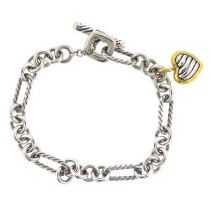 David Yurman Sterling Silver Cable Heart Charm Bracelet
