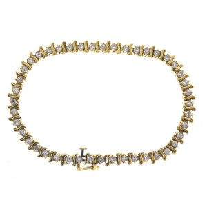 14K Yellow Gold Diamond Tennis S-Link Bracelet