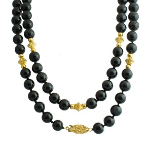 14K Yellow Gold Beads Black Onyx Beads Necklace
