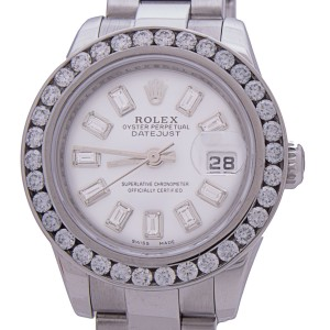 Rolex 179160 Date Just Diamond Bezel & Dial White Dial Steel Automatic Watch 27 mm