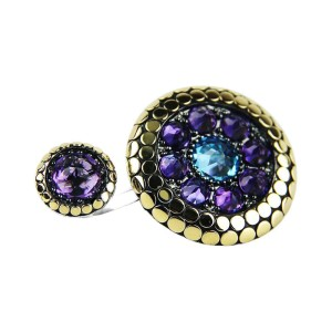 John Hardy Sterling Silver & 18K Yellow Gold Blue Topaz & Amethyst Double Dot Ring Size 7