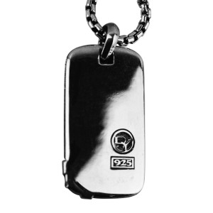 "David Yurman Amazing Sterling Silver North Star Dog Tag 26"" Chain"