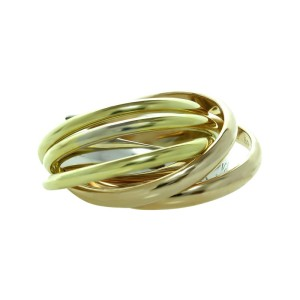Cartier Trinity La Belle Diamond 18k Tri-Gold 6-Band Ring