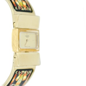 Hermes Lo1.20 Wristwatch Roque Loquet 18k Gold Plated Bangle Watch