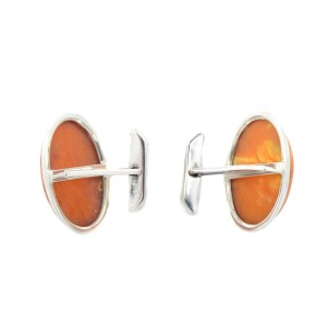 Amber Oval Cabochon Shaped Stone Silver Mens Cufflinks