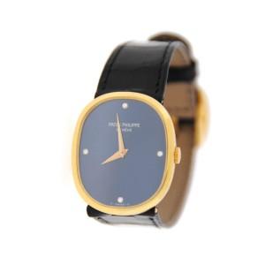 Patek Philippe 3748 18K Yellow Gold Ellipse Diamond Blue Dial Unisex Watch