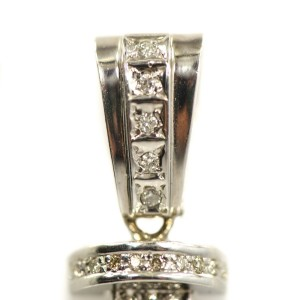 14K White Gold Diamonds Mens Pendant