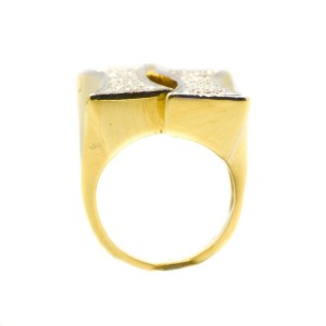18K Yellow Gold Diamond Mens Ring
