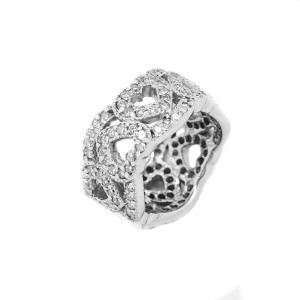 14K White Gold 3.75 ct. Diamond Heart Shape Ring