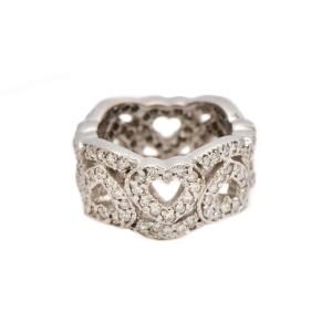 14K White Gold 3.75 ct. Diamond Heart Shape Ring