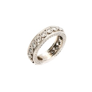 14K White Gold Band 1.70 Ct Womens Ring