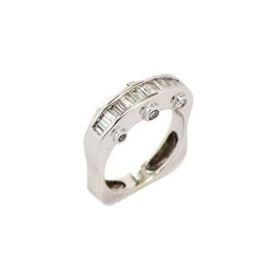 14K White Gold Bezel Set 0.98 Ct Diamond Ring