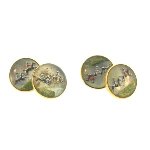 14K Yellow Gold Enamel & Rock Crystal Hand Painted Cufflinks