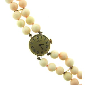 Baume & Mercier 14K Yellow Gold & Angel Skin Coral Watch Circa 1950s