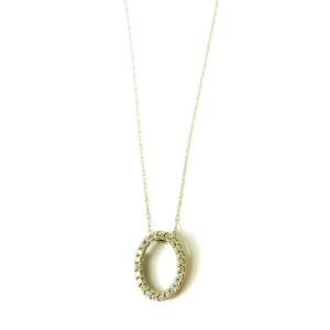White Gold Diamond Oval Pendant