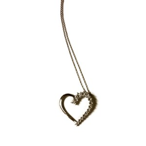 Sterling Silver & Diamond Open Heart Necklace