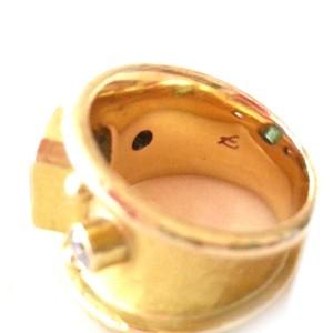 Elizabeth Locke Yellow Gold Blue Topaz and Diamond Ring