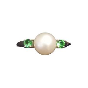 Sterling Silver Cultured Pearl & Geen Tsavorite Ring