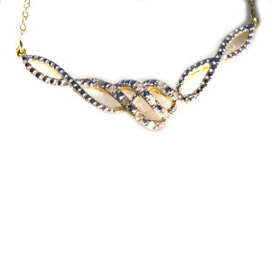 Yellow Gold Tone Sterling Silver Diamond Necklace