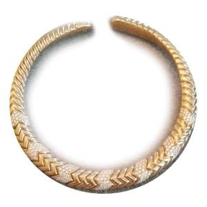Bvlgari Bulgari Spiga Contemporary 18K Gold and Diamond Choker Necklace
