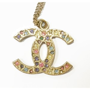 Chanel Gold Multi Color Stone CC Pendant Necklace