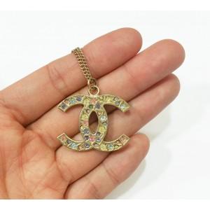 Chanel Gold Multi Color Stone CC Pendant Necklace