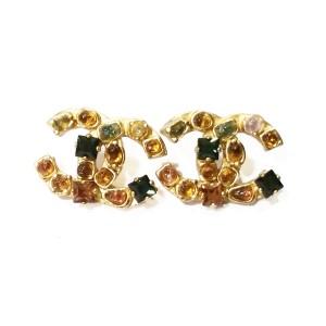 Chanel 18K Gold Plated Gemstones Piercing Earrings