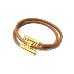 Hermes 18K Gold Plated Palladium H Leather Bracelet