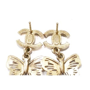 Chanel Rhinestone CC Gold Butterfly Dangle Piercing Earrings