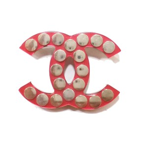 Chanel Red Metallic Silver Nail Brooch