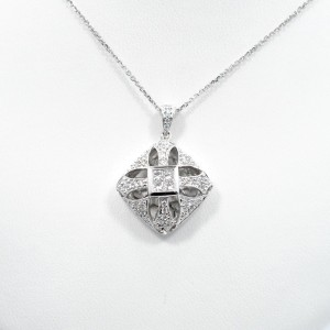 Diamond Puff Pendant 0.75Ct White Gold Invisible and Pave Settings