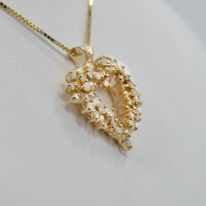 Diamond Heart Pendant 14K Yellow Gold 1.10Ct  3.8grams