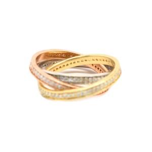 Diamond Tri-Color Gold Ring Size 7