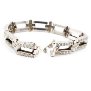 14K White Gold 7.20Ct Diamond Thick Heavy Chain Bracelet