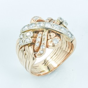 Rose Gold Diamond Womens Ring Size 9