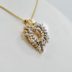 Diamond Heart Pendant 14K Yellow Gold 1Ct 3.8 grams