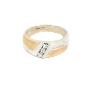 White Yellow Gold Mens Wedding Ring Size 11