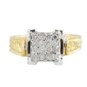 Yellow Gold Diamond Mens Ring Size 6.5