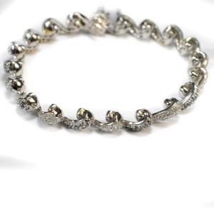 "White & Black Diamonds Bracelet 4.31 Ct 14 K White Gold  26.4 grams 7"""