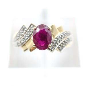 Yellow Gold Diamond, Ruby Womens Ring Size 7