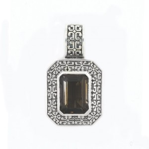 Large Rectangular Shape Smokey Topaz Antique Finish Pendant Locket 15CT 29.09 GR