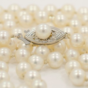 Cultured Pearls 14K White Gold Lock Necklace