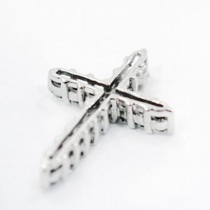 14K White Gold 0.64Ct Diamond Cross Pendant 1.2 Grams GS1  19mm x 14mm