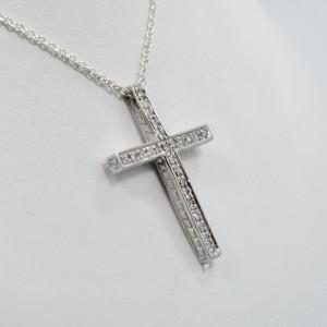 Diamond Cross .53CT Pave Setting 14K White Gold