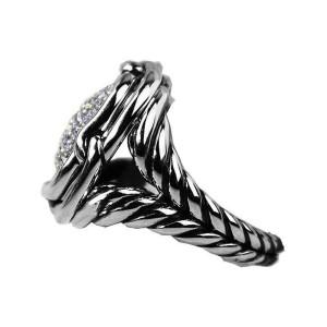 David Yurman Sterling Silver Labyrinth Diamond 0.752 Ctw Ring